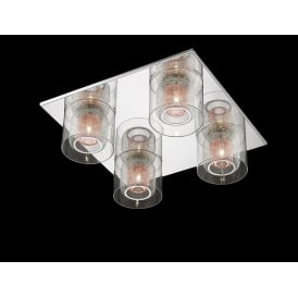 Laure 4 Light Flush Ceiling Light In Chrome And Copper Finish PGH606101/04/PL/CH