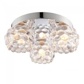 Lawcross Glass Bathroom Flush Ceiling Light in Chrome Finish 55159