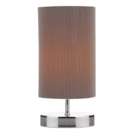 LEO Polished Chrome and Grey Touch Table Lamp LEO4129