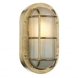 Lighthouse Outdoor Oval Wall Light In Brass Finish IP44 LIG5240