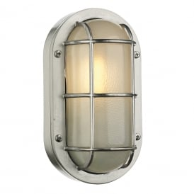 Lighthouse Outdoor Oval Wall Light In Nickel Finish IP44 LIG5238