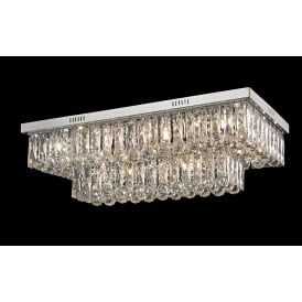 Lilou 12 Light Crystal Duo Mount Ceiling Light In Chrome Finish CF1708/12/CH