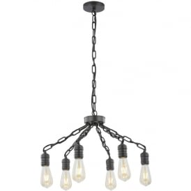 Linky Modern 6 Light Duo Mount Ceiling Light In Antique Ironwork Finish FL2365/6
