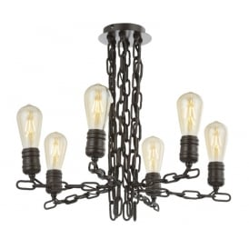 Linky Modern 6 Light Multi Arm Ceiling Fitting In Antique Ironwork Finish FL2364/6