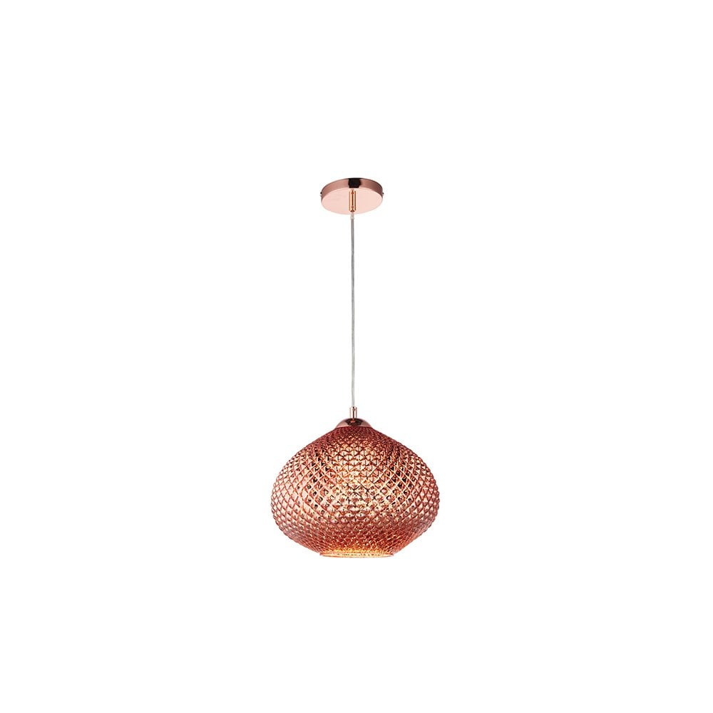 Endon Livia Stylish Ceiling Pendant Light With Copper Glass Shade 77094 Lighting From The Home Lighting Centre Uk