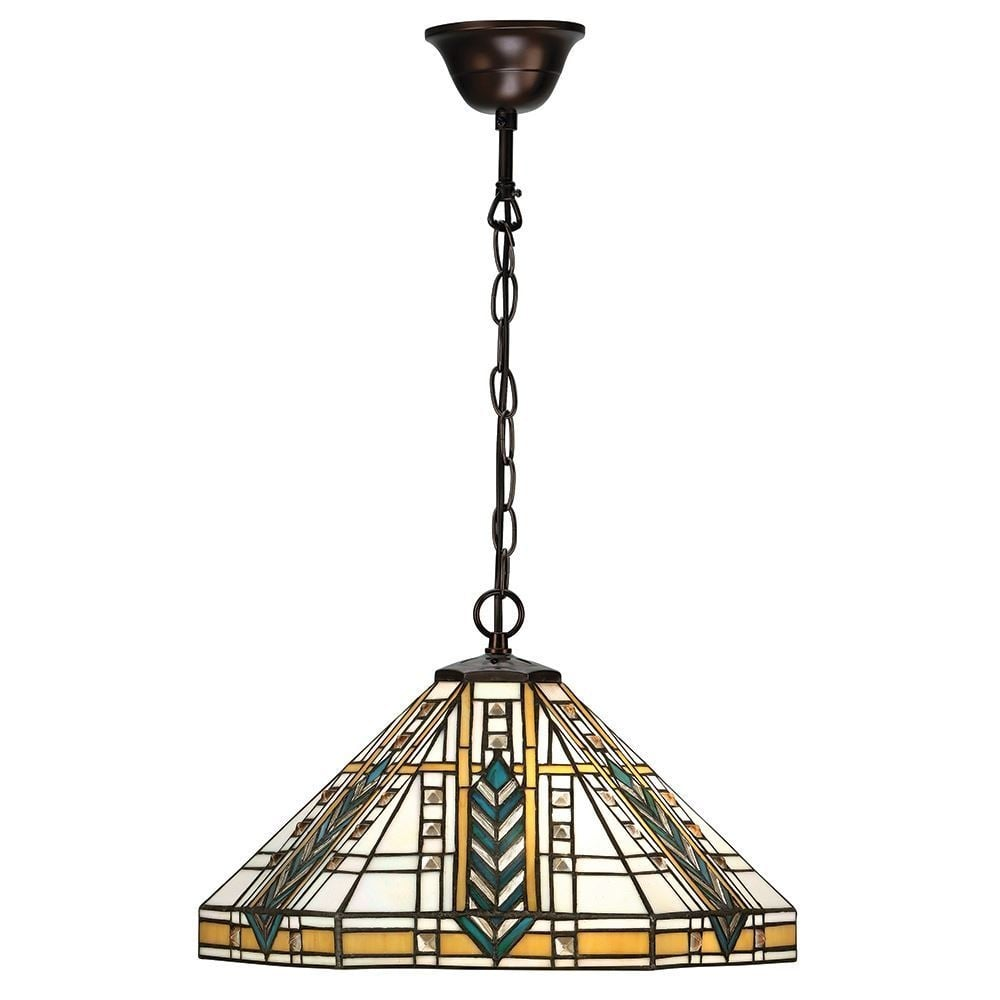 Lloyd tiffany medium ceiling pendant light with bevelled glass beading 64238