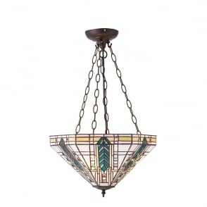 Lloyd Tiffany Medium Inverted Ceiling Pendant Light With Bevelled Glass Beading 70782
