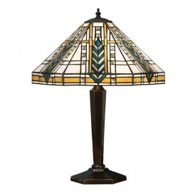 Lloyd Tiffany Medium Table Lamp With Bevelled Glass Beading 64239
