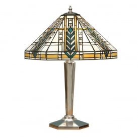 Lloyd Tiffany Medium Table Lamp With Bevelled Glass Beading In Aluminium Finish 64241