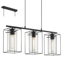 Loncino Industrial 3 Light Ceiling Pendant In Black Finish 49496