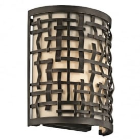 Loom 1 Light Olde Bronze Wall Light with Etched Diffuser KL/LOOM1
