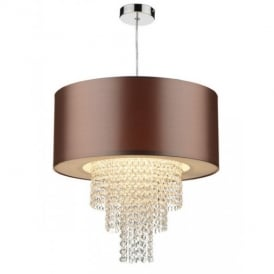 LOP6535 Lopez Gold And Crystal Non-Electric Pendant