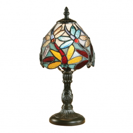 Lorette Classic Tiffany Mini Table Lamp With Coloured Shade 64246