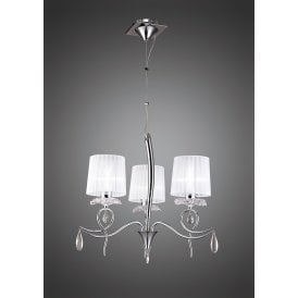 Louise Elegant 3 Light Ceiling Pendant In Chrome Finish With White Shades M5273