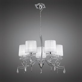 Louise Elegant 5 Light Ceiling Pendant In Chrome Finish With White Shades M5271