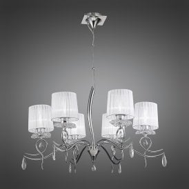 Louise Elegant 6 Light Ceiling Pendant In Chrome Finish With White Shades M5270