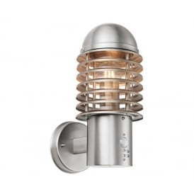 Louvre Outdoor PIR Wall Light In Brushed Stainless Steel Finish 72381
