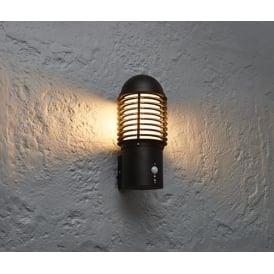 Louvre Outdoor PIR Wall Light In Textured Black Finish 72384