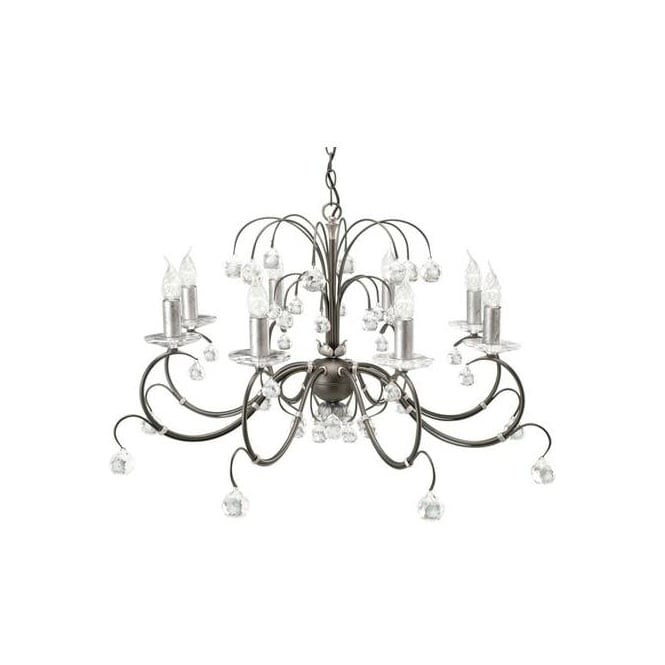 Elstead Lunetta black/silver eight light crystal ceiling pendant
