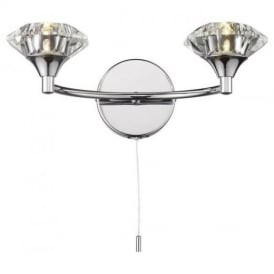 Luther 2 Light Crystal Wall Light in Polished Chrome - LUT0950