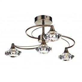 Luther 4 Light Crystal Semi Flush Ceiling Light in Antique Brass - LUT0475