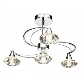 Luther 4 Light Crystal Semi Flush Ceiling Light in Polished Chrome - LUT0450