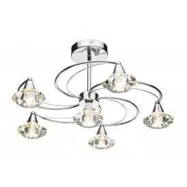 Luther 6 Light Crystal Semi Flush Ceiling Light in Polished Chrome - LUT0650