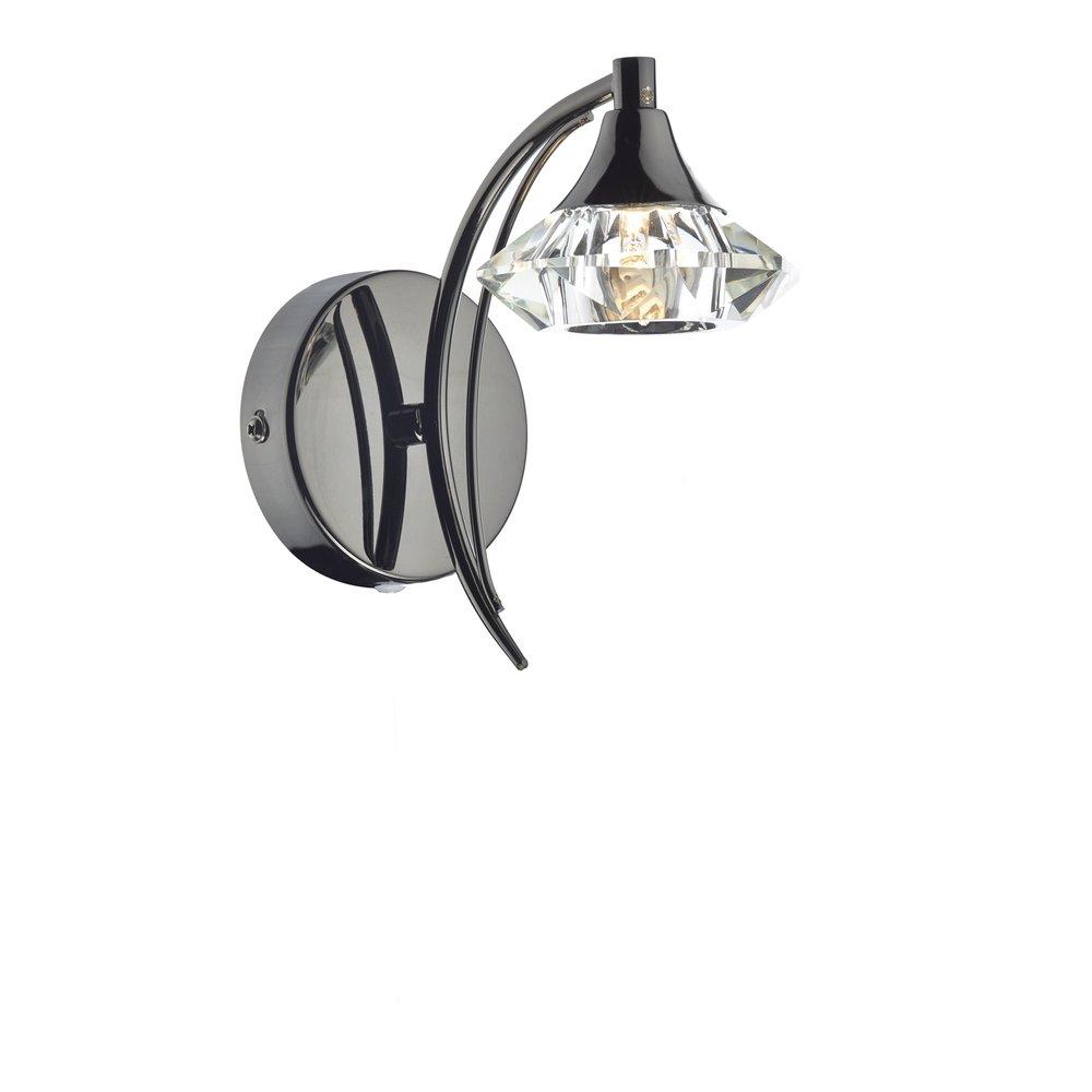 Crystal Wall Lights Switched : Dar Lighting Luther Single Switched Crystal Wall Light in Black Chrome - LUT0767 - Dar Lighting ...