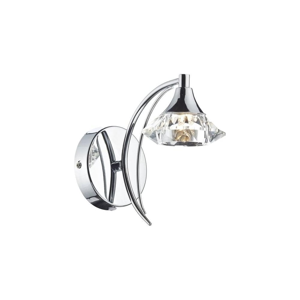 Dar Lighting Luther Single Switched Crystal Wall Light in Polished Chrome - LUT0750 - Lighting ...
