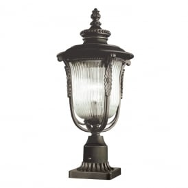 Luverne Outdoor Pedestal Lantern In Rubbed Bronze Finish KL/LUVERNE3/M