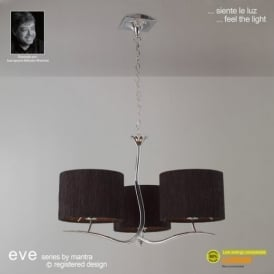 M1131/BS Eve 3 Light Chrome Pendant With Black Shades