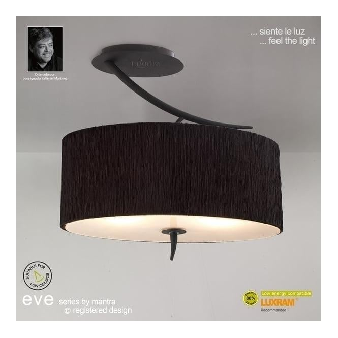 Mantra Lighting M1152/BS Eve 2 Light Anthracite Semi-Flush With Black Shade