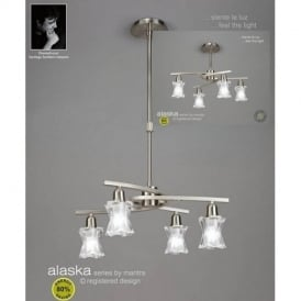 M8607SN Alaska Low Energy 4 Lt Satin Nickel Semi-Flush Pendant