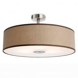 Madison Modern 3 Light Semi Flush Ceiling Light With Taupe Shade 4887TA