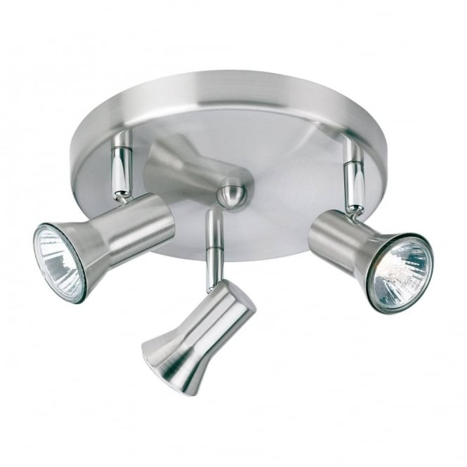 Firstlight Magnum 3 Light Ceiling Plate Spotlight In Brushed Steel Finish 6093