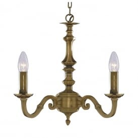 Malaga 3 Light Ceiling Chandelier In Antique Brass Finish 1073-3NG
