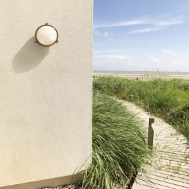 Malibu Outdoor Round Flush Fitting In Antique Brass Finish IP65 7969