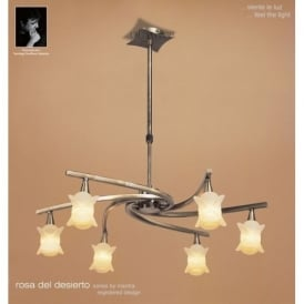 M0033AB Rosa Del Desierto 6 Lt Antique Brass Semi-Flush Pendant