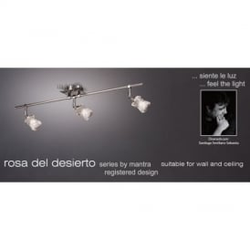 M0043 Rosa Del Desierto 3 Light Chrome Ceiling Or Wall Flush