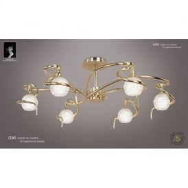 M0086PB Dali 6 Light Polished Brass Semi-Flush Lamp