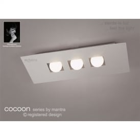 M0128 Cocoon 3 Light Silver Flush Wall Or Ceiling Lamp