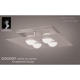 M0130 Cocoon 4 Light Silver Flush Wall Or Ceiling Lamp