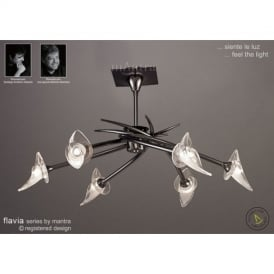 M0304BC Flavia 6 Light Black Chrome Semi-Flush Ceiling Lamp