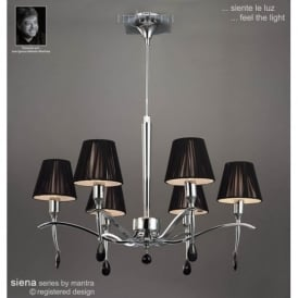 M0342PC Siena Polished Chrome 6 Light Chandelier With Shades