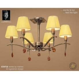 M0344AB Siena Antique Brass 6 Lt Semi-Flush Lamp With Shades