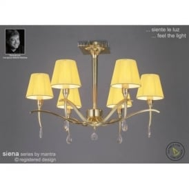 M0344PB Siena Polished Brass 6 Lt Semi-Flush Lamp With Shades
