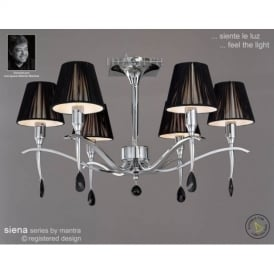 M0344PC Siena Polished Chrome 6 Lt Semi-Flush Lamp With Shades