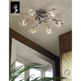 M0416PC Alfa 6 Light Polished Chrome Flush Ceiling Light