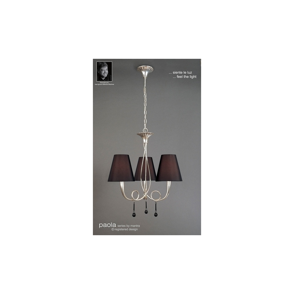 M0532 Paola 3 Light Silver Chandelier With Black Shades