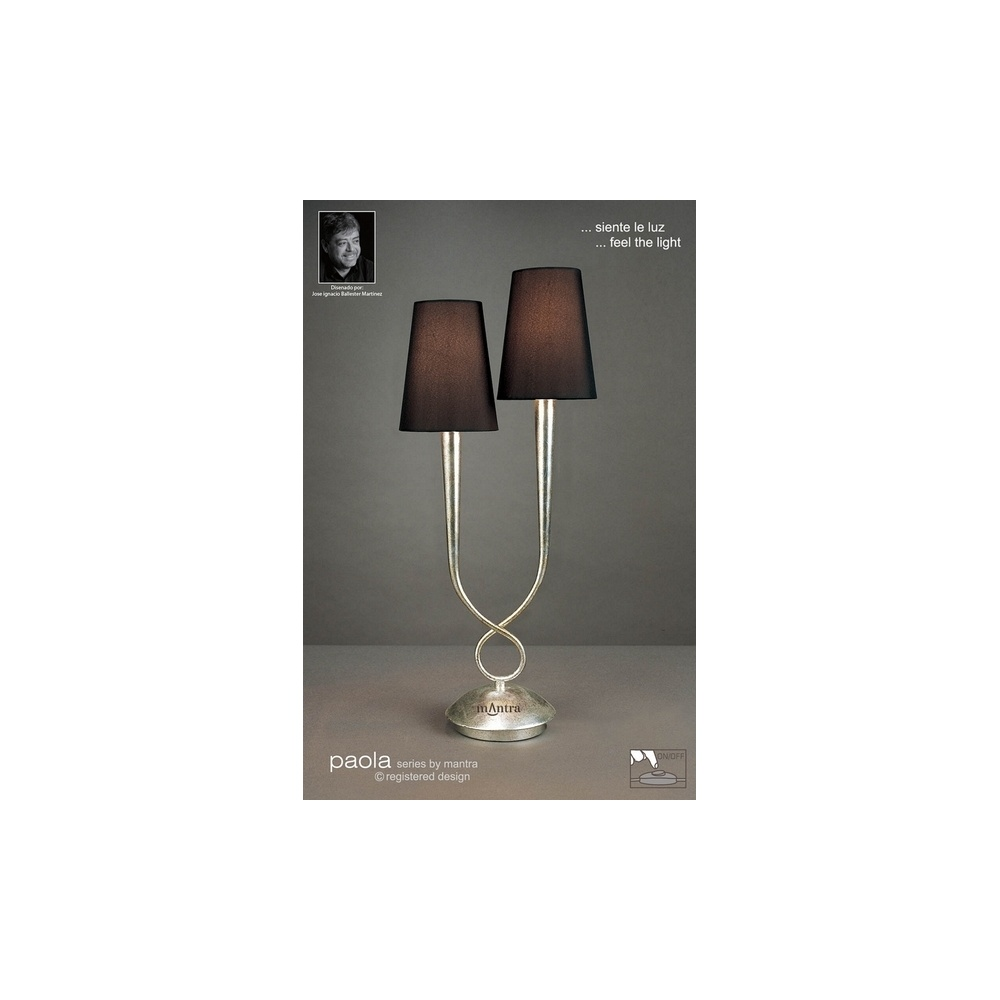 Mantra lighting m0536 paola 2 light silver table lamp with black m0536 paola 2 light silver table lamp with black shades aloadofball Image collections